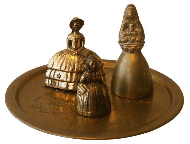 Brass Tray & 3 Lady Bells