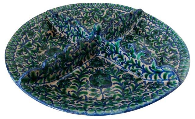Divided Faience Serving Platter