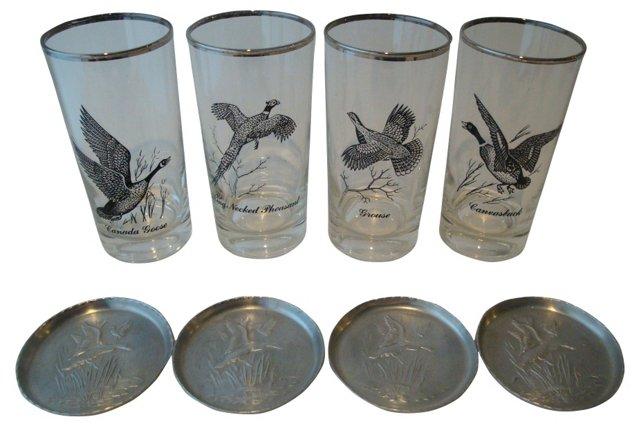Game Bird Glasses & Coasters, S/8
