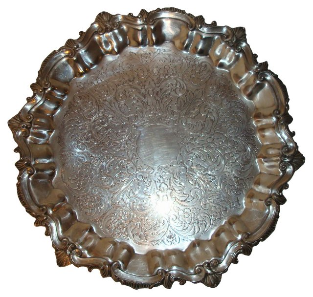 Footed Silverplate Salver Tray