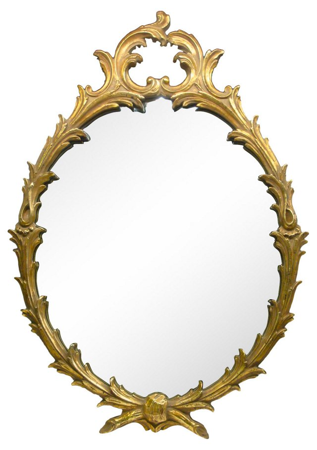 French-Style Gold Oval Mirror