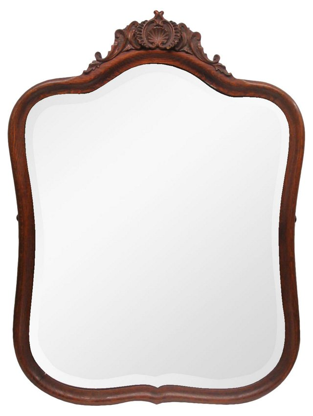 Carved Shell Crest Oak Mirror