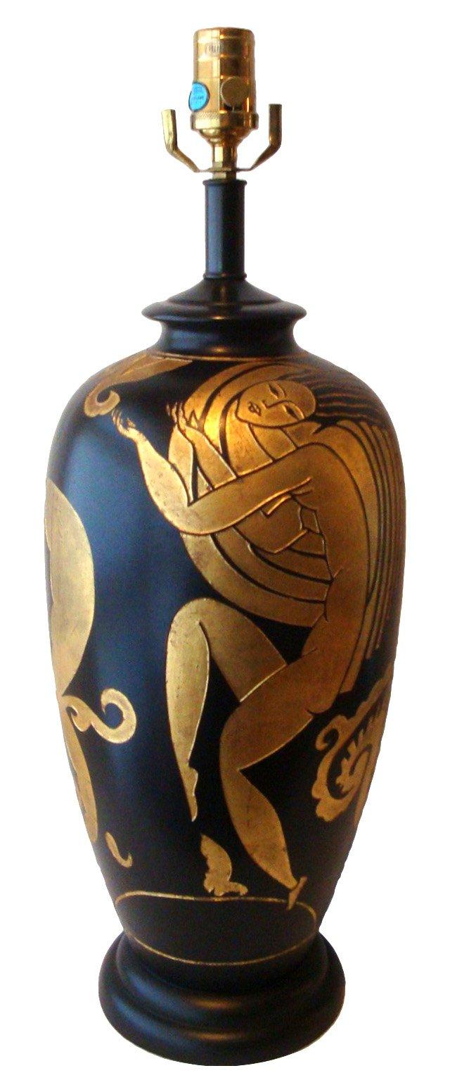 Art Deco-Style Black & Gold Lamp