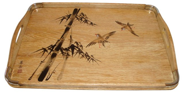 Chinoiserie  Oak Serving Tray