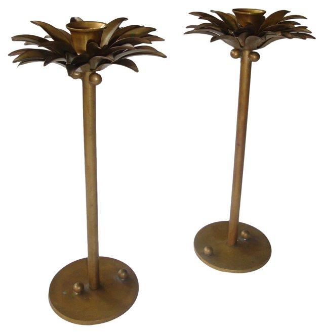 Brass Coconut Palm Candlesticks, Pair