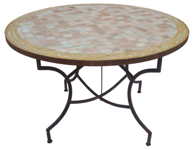 Mosaic Tile & Iron Dining Table
