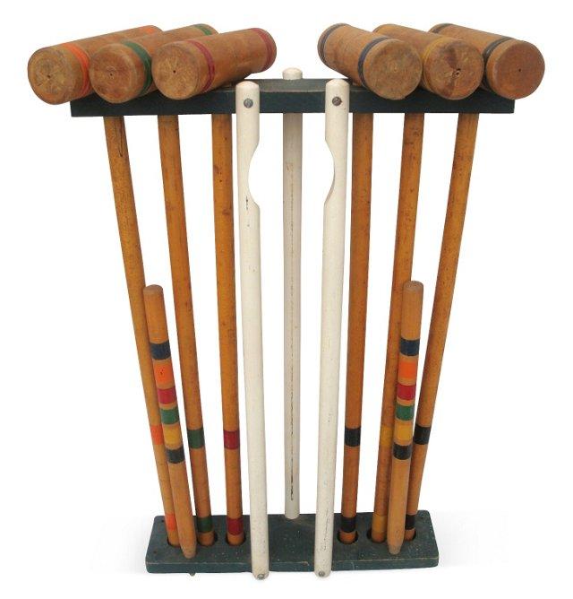 Wood Croquet Mallets & Stand, 7 Pcs