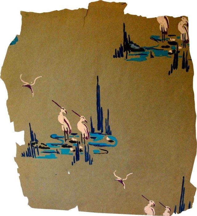 1930s Herons Wallpaper Prototype
