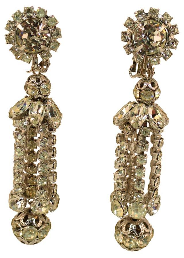 1960s Rhinestone Chandelier Earrings