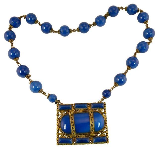 Czech Lapis Glass Necklace