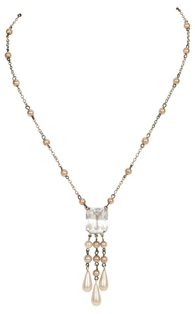 Edwardian Pearl & Crystal Necklace