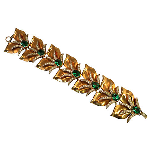 1940s Modernist Emerald & Gold Bracelet