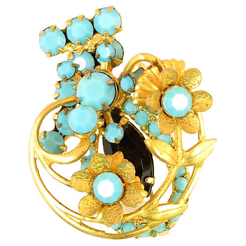 Juliana 3D Turquoise Floral Brooch