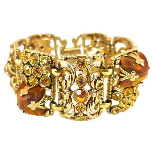 Chunky Tigers Eye & Amber Bracelet