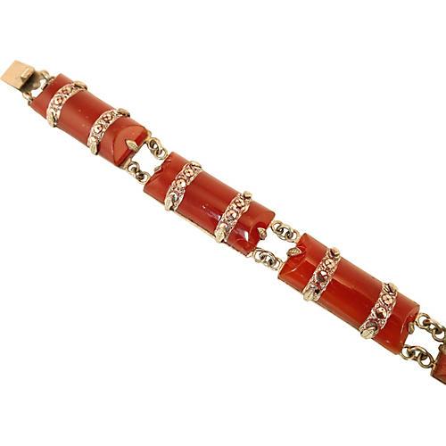 Czech Carnelian Glass Bracelet