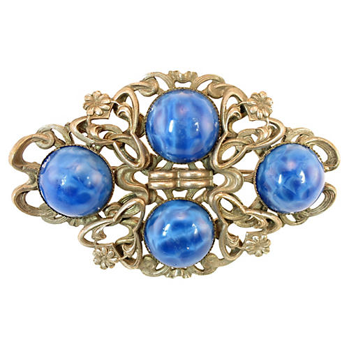 Art Nouveau Blue Art Glass Brooch