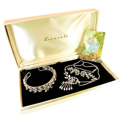 1940s Krementz White Gold Crystal Parure