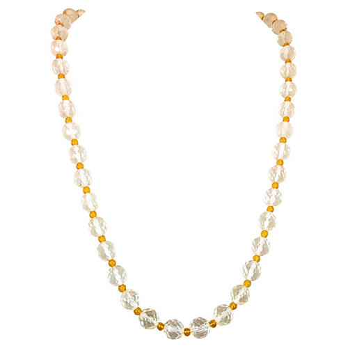 1920s Long Crystal & Citrine Necklace