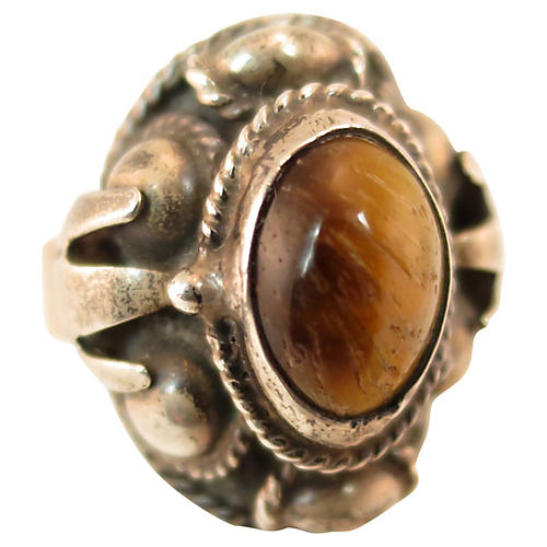 1950s Sterling Tiger's Eye Poison Ring