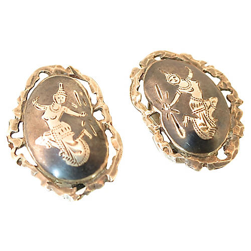 Siam Sterling Niello Goddess Earrings