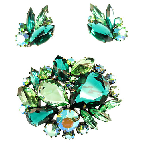 1960s Juliana Green Crystal Brooch Set