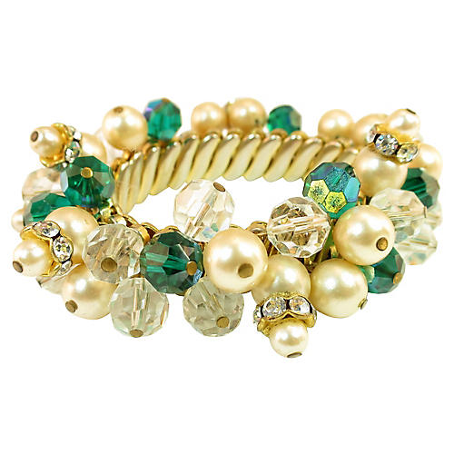 1950s Emerald Crystal Bauble Bracelet