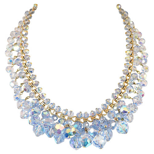1960s Blue AB Crystal Cluster Necklace