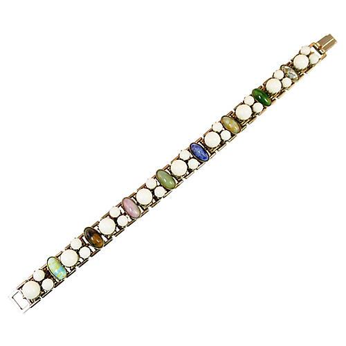Art Glass & Milk Glass Bracelet