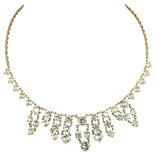 1930s Sterling & Crystal Necklace