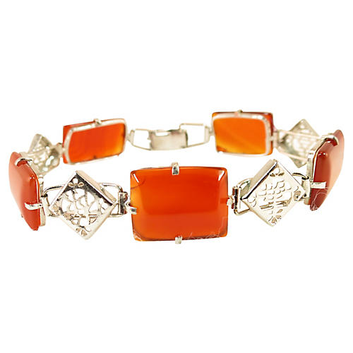 Carnelian & Sterling Chinese Bracelet