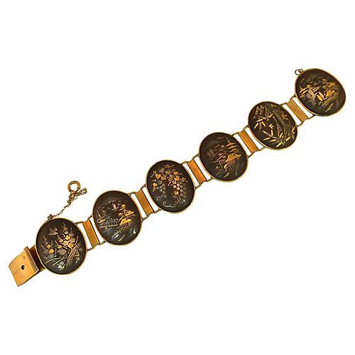 1930s Asian Niello-Ware Bracelet
