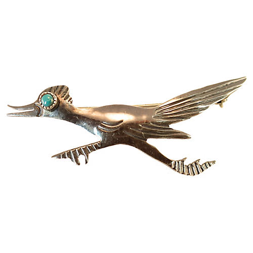 Sterling & Turquoise Roadrunner Brooch