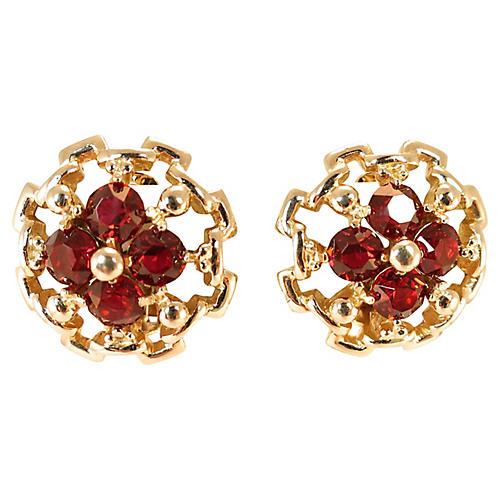 1940s Reja Gilded Sterling Ruby Earrings