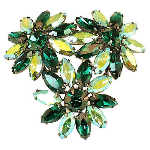 1950s Austria Emerald & Peridot Brooch