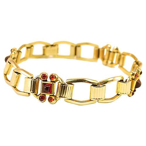 Kreisler Garnet Link Bracelet, 1930s