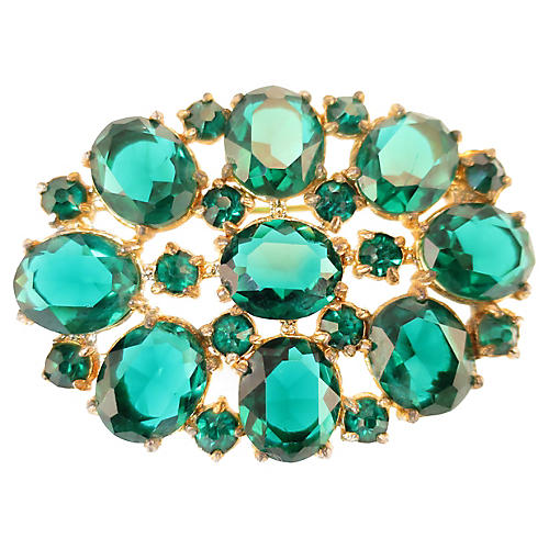 1920s Emerald Crystal Brooch