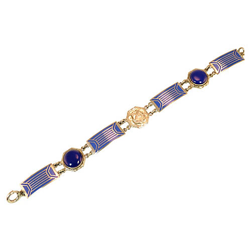 1920s Cobalt Enamel Crest Bracelet