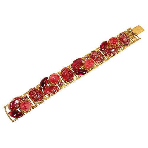 1950s Red and Pink Lucite Bracelet
