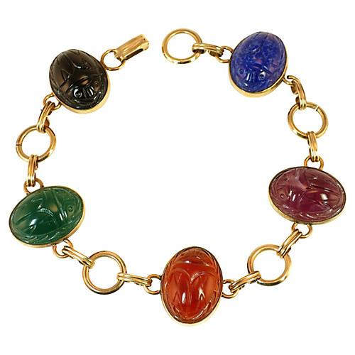 1930s Art Glass Scarab Bracelet