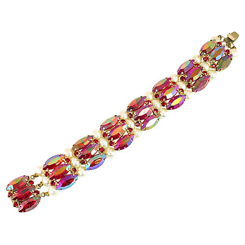 1950s Ruby Crystal & Faux Pearl Bracelet