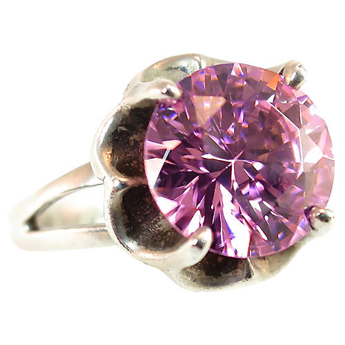 Mexico Sterling Pink Topaz Ring, 1960s