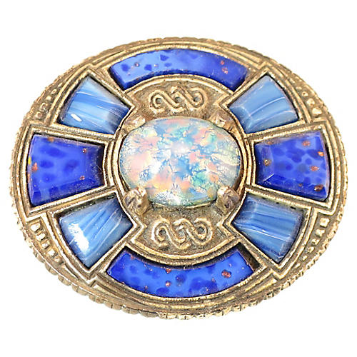 1960s Miracle Celtic Opal Lapis Brooch