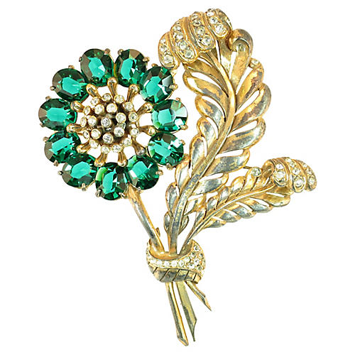 Massive Emerald Leaf Brooch, 1930s
