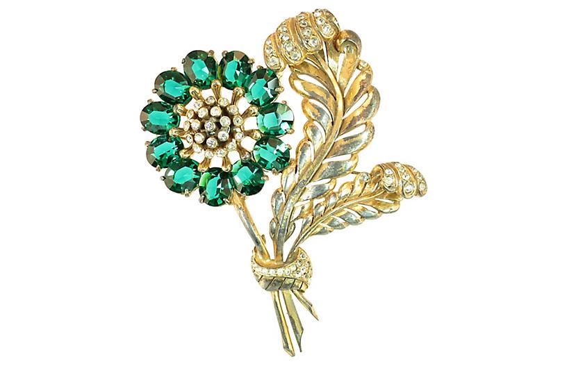 1930s Massive Emerald Leaf Brooch