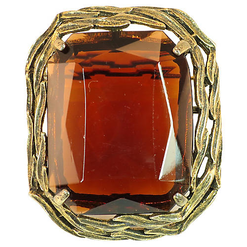 1950s Capri Amber Glass Brooch