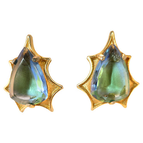 1950s BSK Blue-Green Starburst Earrings