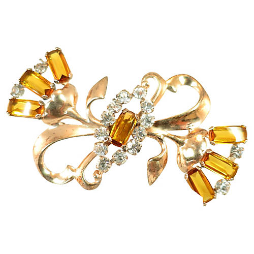 1940s Gilded Sterling Bow Brooch