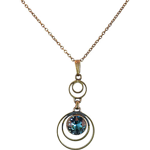 1930s Simmons Blue Crystal Pendant