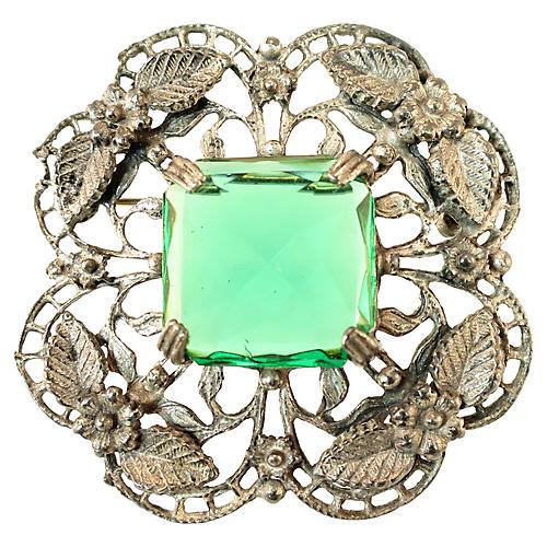 1920s Emerald Filigree Brooch