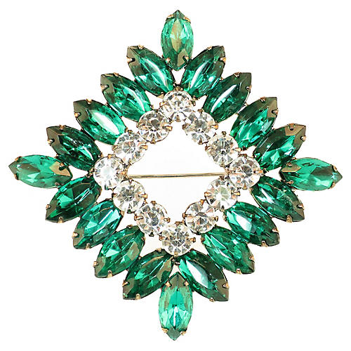 1950s Emerald Crystal Square Brooch